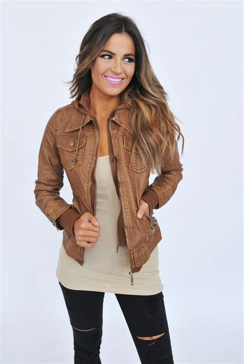 light brown leather jacket womens stylish convertible collar long sleeve solid color