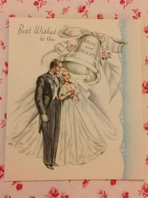 Vintage 1945 Wedding Card with Elegant Bride & Groom