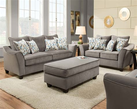 light gray set swooping armrests gray sofa