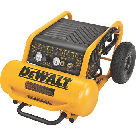 dewalt portable electric air compressor 1 6 hp 4 5 gallon horizontal 5 2 cfm model d55146