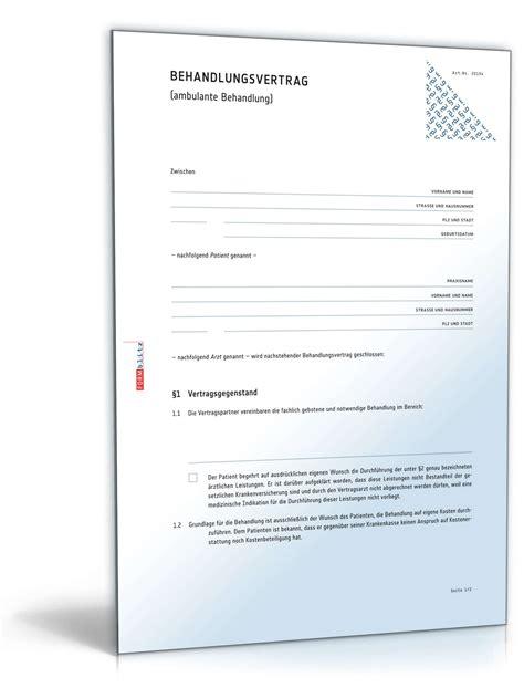 Vorlage Rechnung Heilpraktiker behandlungsvertrag vorlage zum