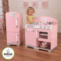 Kidkraft pink retro play kitchen and refrigerator walmart com