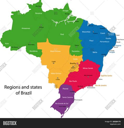 map brazil states colorful brazil map with regions states and capital