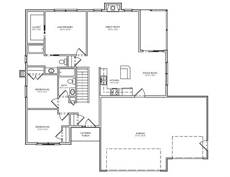 Floor Plans For 3 Bedroom Ranch Homes tiny house plans small house plan small 3 bedroom ranch
