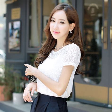 Grosir Baju Blouse My My Style Bl White Chiffon Blouse Lace Crochet Korean Shirts For