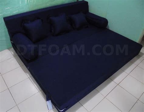 sofa kasur lipat sofa tempat tidur biru tua gelap dongker polos open
