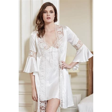 honeymoon nightwear sensualgifts net bridal satin nightwear bell sleeves lace trims in white