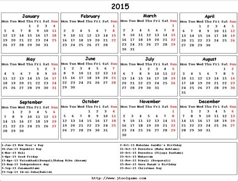 Calendar With Holidays 2015 Indian Calendar 2015 With Holidays And Festival Www