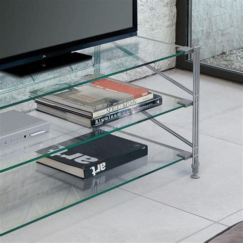 tavolini porta tv tilde tavolino porta tv in acciaio e vetro 100x47 cm