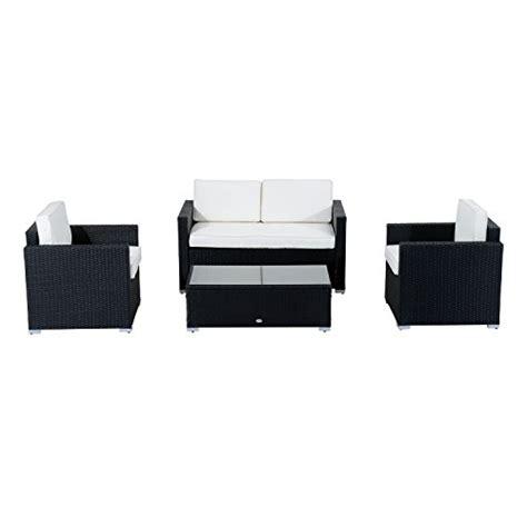 4 rattan sofa set outsunny 4 cushioned outdoor rattan wicker sofa set