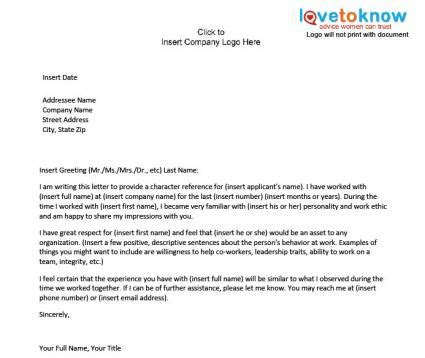 Character Reference Letter Work Colleague exles of a character reference letter