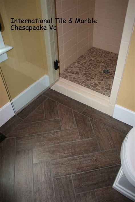 gallery herringbone wood tile bathroom