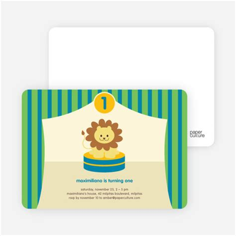 Funky Brown Khaki Second 100 Mulus king of the big top tent birthday invitations green energy