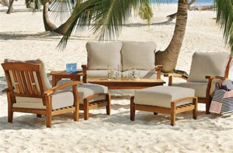 Wood For Outdoor Furniture by New 7 Teak Wood Outdoor Patio Seating Set Garden Furniture White Cushions Ebay
