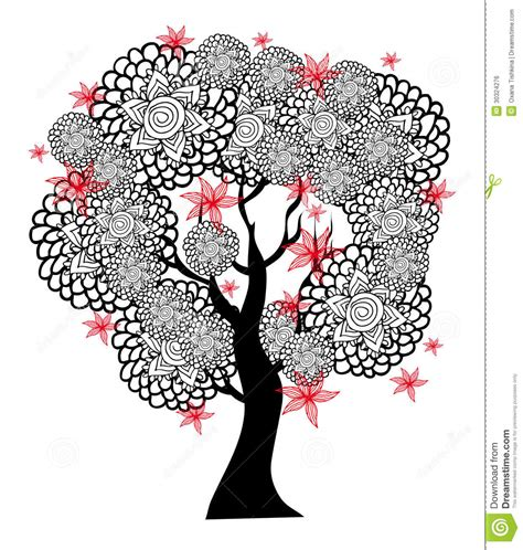 Blakc Reddish Flower S M L 44398 fantastic black and white tree with flowers royalty free stock image image 30324276