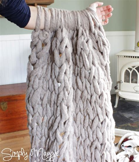how to make a chunky knit blanket easy diy chunky throw blankets the budget decorator