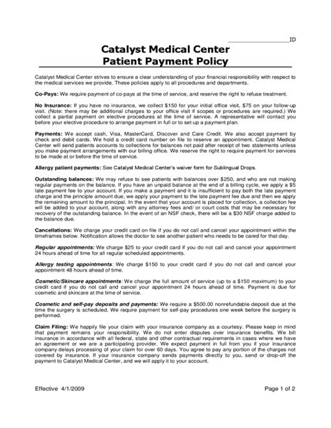 T E Policy Template Sle Patient Payment Policy Free Download