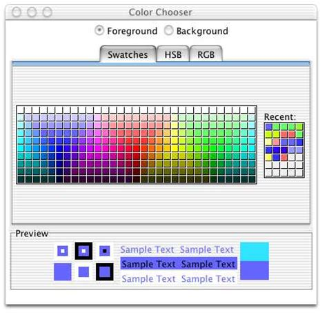 colors in java swing color chooser