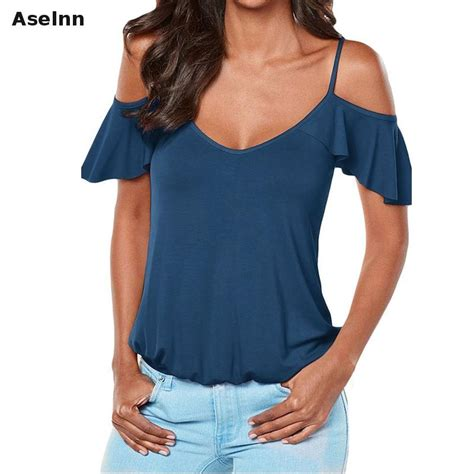 Cross V Neck Sleeve aselnn 2017 fashion shoulder t shirts v neck straps cross bandage butterfly