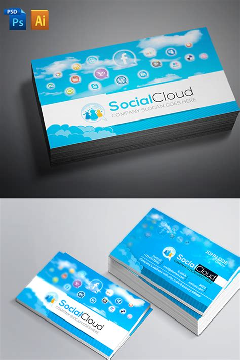 Social Media Business Cards Template by Social Media Business Card Corporate Identity Template 66881