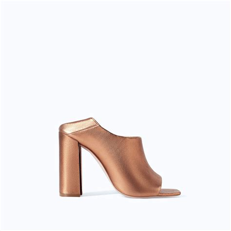 high heels mule zara shiny leather high heel mules in gold lyst