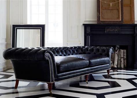 ralph lauren brook street sofa black leather upholstery