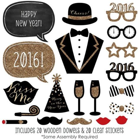 printable new years eve photo booth props 2016 new year s eve photo booth props gold photobooth kit