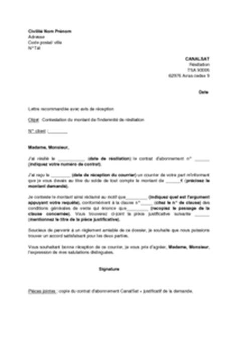 Resiliation Lettre Canalsat Modele Lettre Resiliation Canal Sat