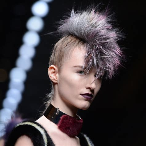 hair preview 2013 fendi fall 2013 fauxhawk hairstyle popsugar beauty