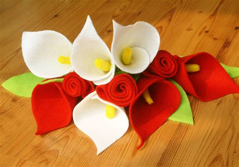 felt lily pattern felt calla lily and rose bouquetpdf pattern and