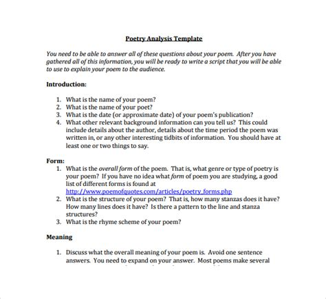 poetrys analysis template sle poetry s analysis template 9 free documents in pdf