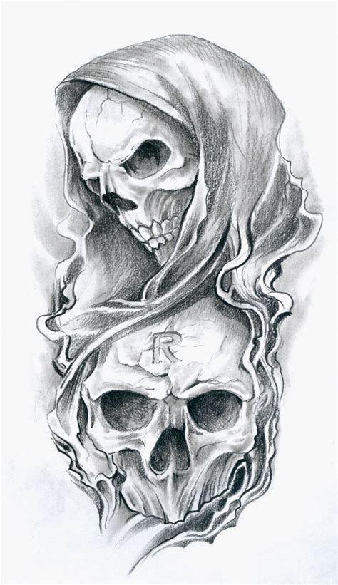 death tattoo design free aztec skull designs grey ink