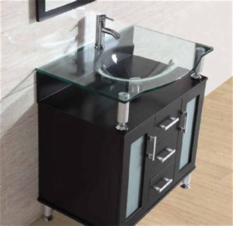 Glass Vanity Sinks by 31 5 Quot Bathroom Cabinet Solid Wood Clear Glass Vessel Sink