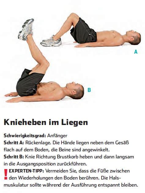 klimmzüge im liegen knieheben im liegen six pack workout