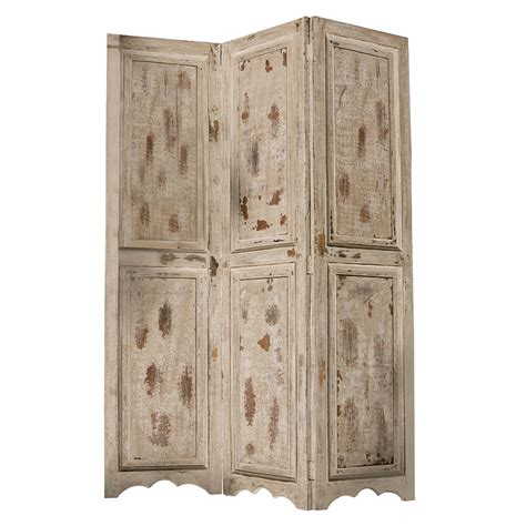 Rustic Room Divider Distressed Rustic Beige Mango Wood Room Divider Three Panel Screen Accent Ebay