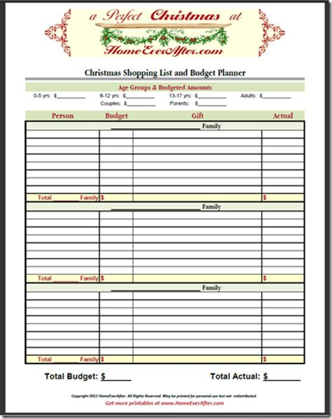 9 best images of printable christmas shopping organizer