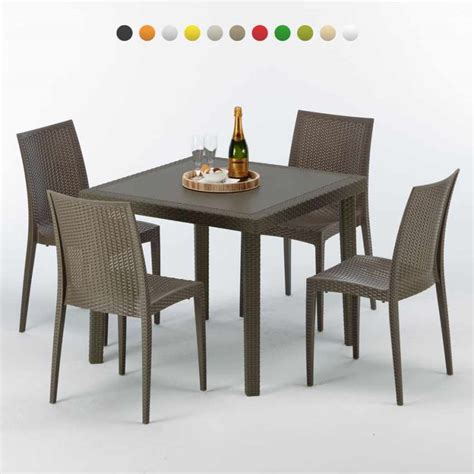 tavolo 90 x 90 tavolo quadrato 4 sedie poly rattan colorate 90x90 marrone