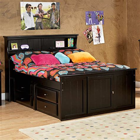 Beds With Headboard Storage Storage Bed Bookcase Headboard Black Cherry Dcg Stores