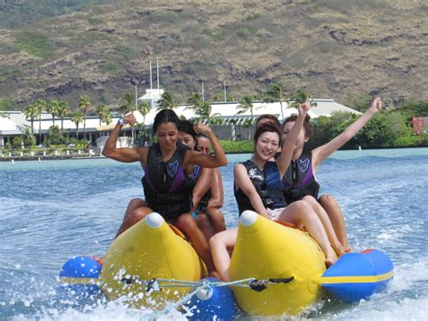 banana boat ride fall hawaii water sports center 187 banana boat ride
