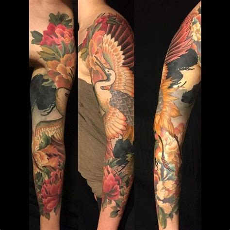 edmonton tattoo asian crane thank you emilie japanesetattoo tattoo crane