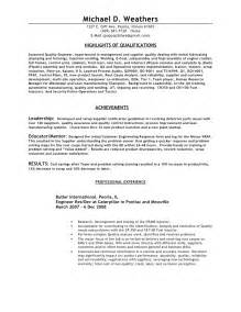 Quality Engineer Resume Format by 2009 Quality Engineer Resume Weathers Mike