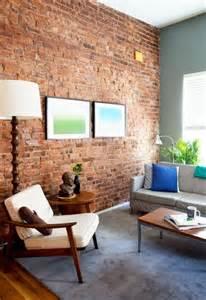 wohnzimmer ziegelwand ziegelwand in der wohnung integrieren extravagante ideen