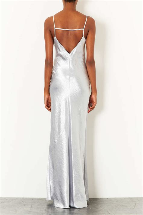 Strpy Maxy topshop silver strappy satin maxi dress back uk 8