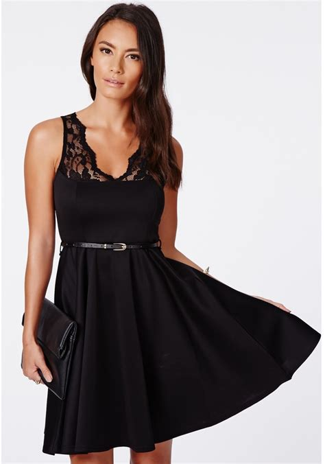 missguided asmita black belted lace skater dress where