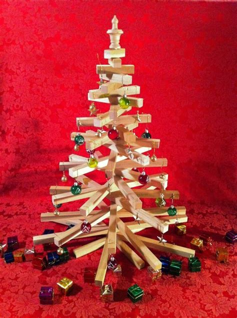 wooden christmas tree  tall table top model handcrafted