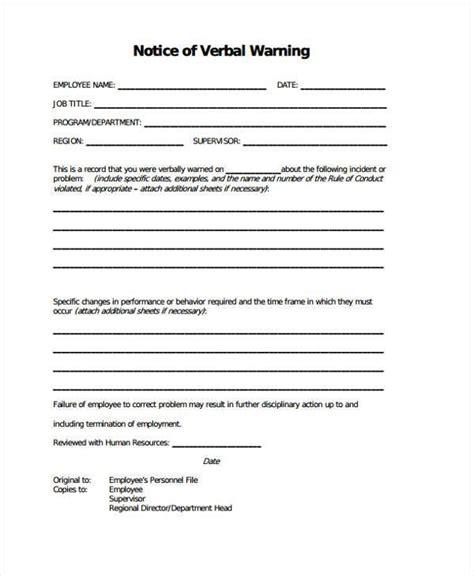 sample verbal warning template 5 documents in pdf