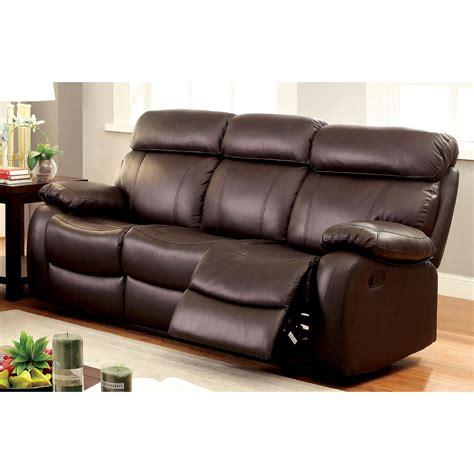 Furniture Of America Birch Plush Top Grain Leather Brown Top Grain Leather Reclining Sofa