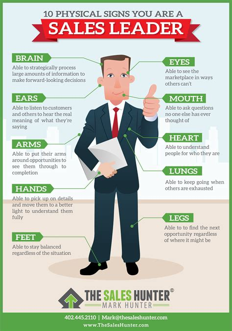 sales greatness 5 sales lessons from 5 boston 10 physical signs you are a sales leader infographic by sales hunter this infographic features
