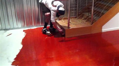 red concrete floor coating youtube installing red epoxy flooring system youtube
