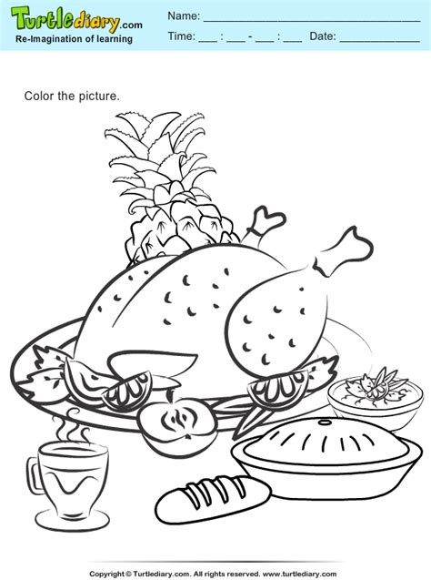 roast turkey coloring page roasted turkey coloring sheet turtle diary